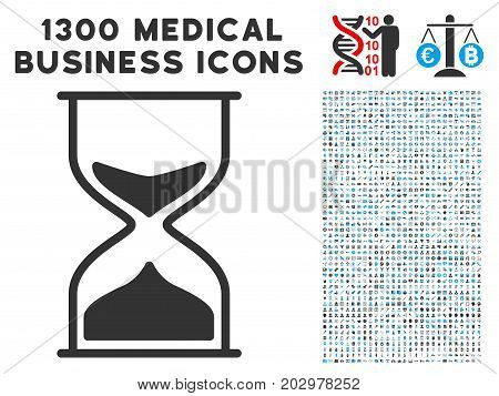 Sand Glass gray vector icon with 1300 medicine business pictographs. Collection style is flat bicolor light blue and gray pictograms.