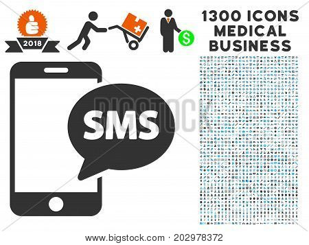 Send Phone SMS grey vector icon with 1300 clinic commercial icons. Collection style is flat bicolor light blue and gray pictograms.