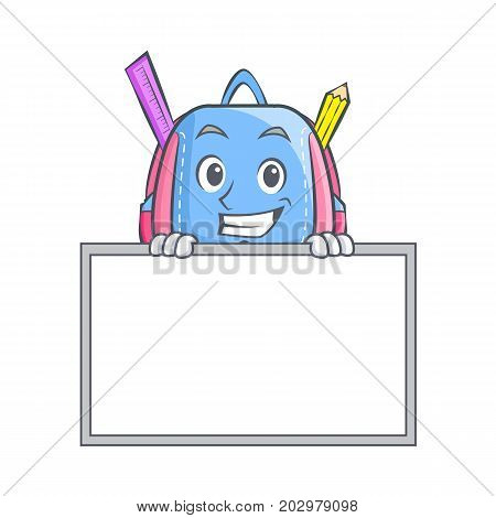 Grinning with board school bag character cartoon vector illustration