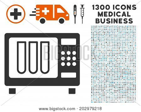 Sterilizer gray vector icon with 1300 healthcare commercial pictograms. Set style is flat bicolor light blue and gray pictograms.