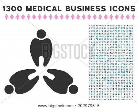 Stomatology grey vector icon with 1300 healthcare business pictograms. Collection style is flat bicolor light blue and gray pictograms.
