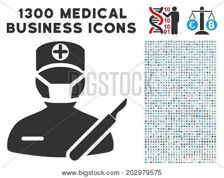 Surgeon grey vector icon with 1300 clinic commercial pictograms. Set style is flat bicolor light blue and gray pictograms.