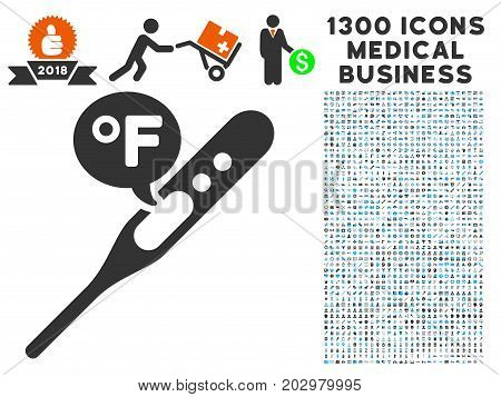 Temperature Fahrenheit grey vector icon with 1300 medicine business pictograms. Collection style is flat bicolor light blue and gray pictograms.