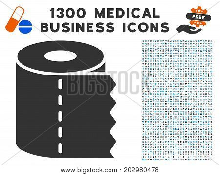 Toilet Paper gray vector icon with 1300 medicine commerce pictograms. Clipart style is flat bicolor light blue and gray pictograms.