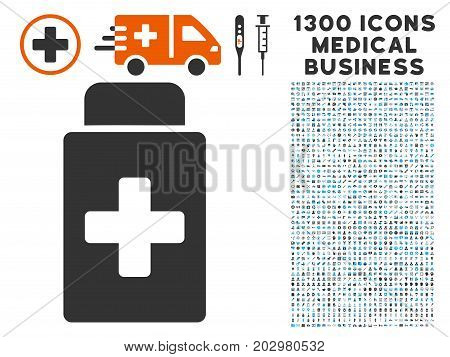 Treatment Vial gray vector icon with 1300 doctor commercial pictographs. Collection style is flat bicolor light blue and gray pictograms.