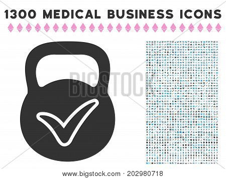 Valid Iron Weight gray vector icon with 1300 doctor business pictograms. Set style is flat bicolor light blue and gray pictograms.