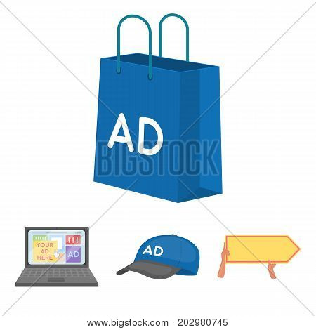 Baseball cap, pointer in hands, laptop, shopping bag.Advertising, set collection icons in cartoon style vector symbol stock illustration .