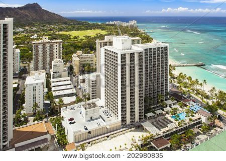 waikiki beach and  diamond head,with ocean aerial view hawaii oahu honululu
