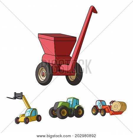 Tractor, hay balancer and other agricultural devices. Agricultural machinery set collection icons in cartoon style vector symbol stock illustration .