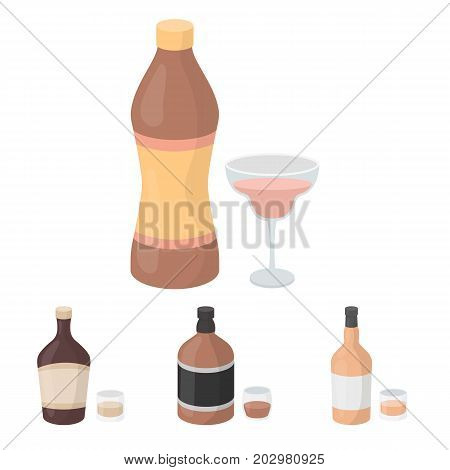 Whiskey, liquor, rum, vermouth.Alcohol set collection icons in cartoon style vector symbol stock illustration .