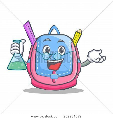Professor school bag character cartoon vector illustration