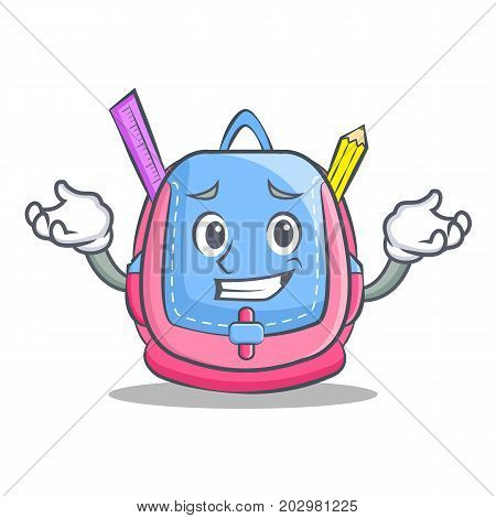 Grinning school bag character cartoon vector illustration