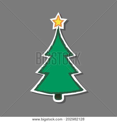 Christmas tree Sticker vector isolated grunge illustation.