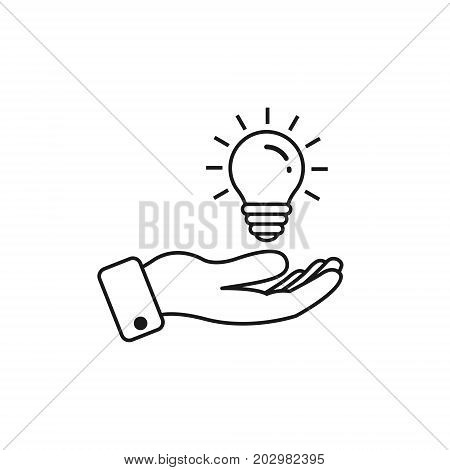 Light bulb in hand line icon. Vector isolated illustration.