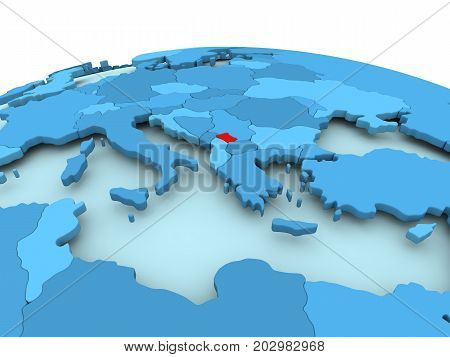 Map of Kosovo in red on blue political globe. 3D illustration. poster