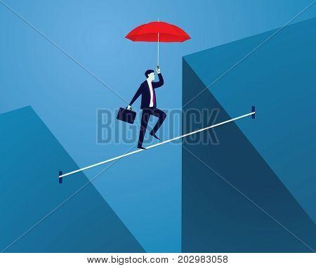 Vector illustration. Risk challenge in business concept. Businessman walking on balancing slackline rope. Conquering adversity problems solution