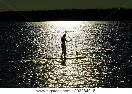 A Silhouetted Man Paddle Boarding On A Saskatchewan Lake