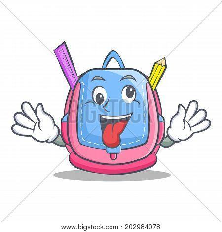 Crazy school bag character cartoon vector illustration