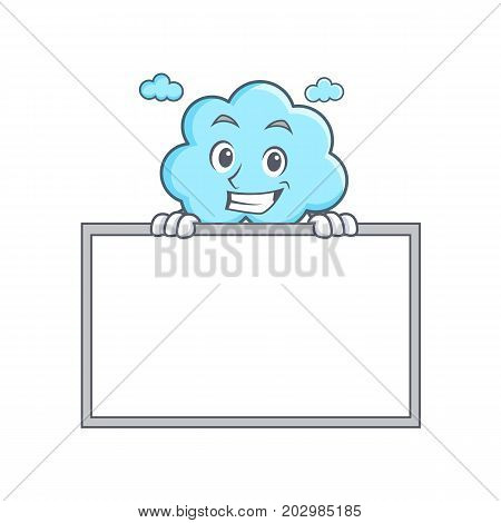Grinning with board cute cloud character cartoon vector illustration
