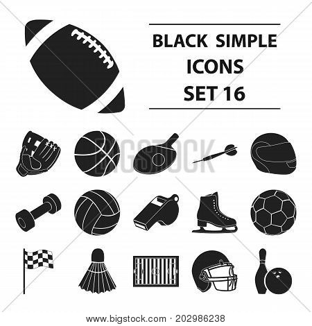 Sport and fitness set icons in black style. Big collection sport and fitness vector symbol stock