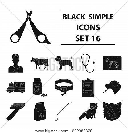 Veterinary clinic set icons in black design. Big collection of veterinary clinic vector symbol stock illustration