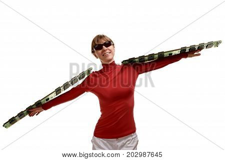 Portrait of smiling woman holding two boards of RAM on her hands