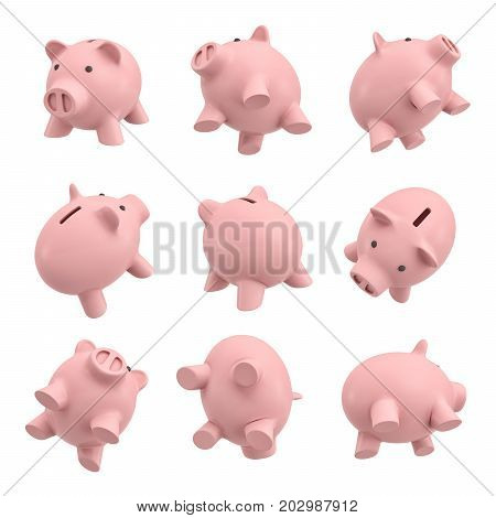 3d rendering of many piggy banks in different views from their sides, tops and bottoms. Money saving tip. Good investment. Personal finance tool.