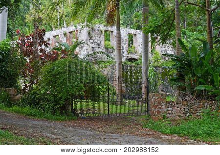 Ruins of a Jamaican Plantation, Shell of a plantation home off Highway A1 just west of Montego Bay, Jamaica.