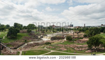 The Big Sioux River flows over rocks in South Dakota