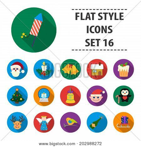 Christmas Day set icons in cartoon style. Big collection of Christmas Day vector symbol stock