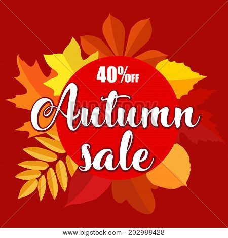 Autumn sale banner with autumn leaves on red background. Vector illustration with colorful autumn leaves. Bright banner for autumn sale with colorful fall leaves. Autumn discount sale 40 off circle banner.