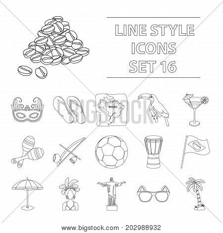 Brazil country set icons in outline design. Big collection of Brazil country vector symbol stock illustration