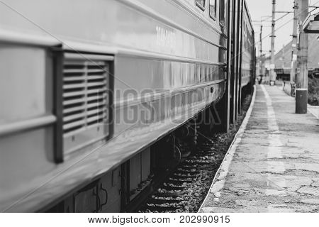 train wagons waiting for departure in italian province station