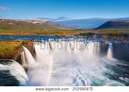 Godafoss waterfall and rainbow. Beautiful landscape in Iceland. World beauty