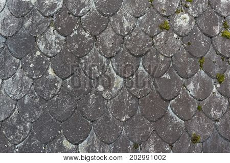 Traditional roof made of natural slate in Norway.