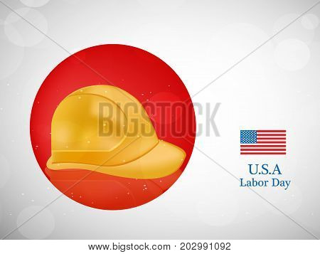 illustration of hat and usa flag with U.S.A. Labor Day text on the occasion of Labor Day