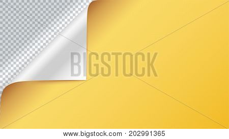 Page curl with shadow on blank sheet of paper. Vector curled corner of colored paper with shadow. Close-up isolated on transparent background. Paper sticker, horizontal 3D illustration