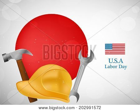 illustration of usa flag, hat, hammer and spanner with U.S.A. Labor Day text on the occasion of Labor Day