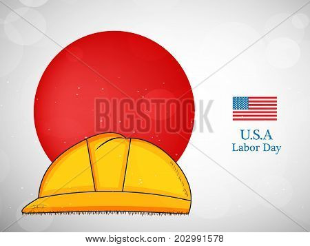 illustration of hat and USA flag with U.S.A Labor Day text on the occasion of Labor Day