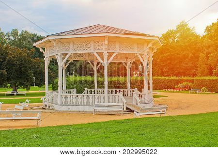 White Summerhouse In Park, City Frantiskovy Lazne With Sun