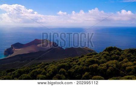 Landscape to Capelinhos volcano caldera at Faial, Azores, Portugal