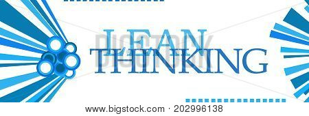 Lean thinking text written over blue background.