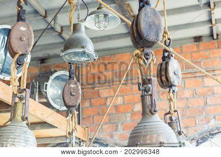 interior design Hanging vintage lamp on the roof Vintage background.