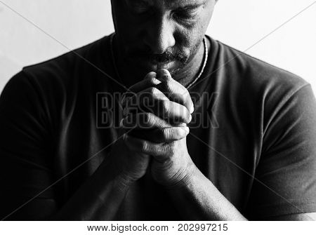 African man prayer faith in christianity religion
