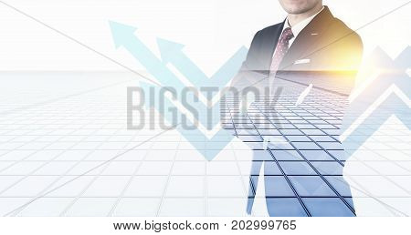 Business concept - thoughtful modern office man with dark suit stand and think financial business plan with arrow background. Double exposure and light effect with Japan city skyline background