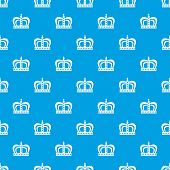 Monarchy crown pattern repeat seamless in blue color for any design. Vector geometric illustration poster