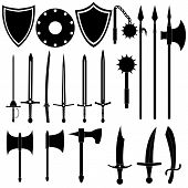 Large collection of medieval weapons. Antique swords axes spears. Black arms on white background. Vector design. poster