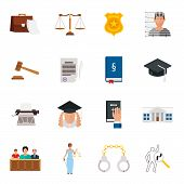 Law icon flat set with lawyer jail court jury isolated vector icon set poster