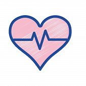 heartbeat vital sign to ekg frequency vector illustration poster