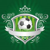 soccer,shield,crown,green background poster